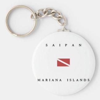 Mariana Islands Saipan Scuba Dive Flag Basic Round Button Keychain