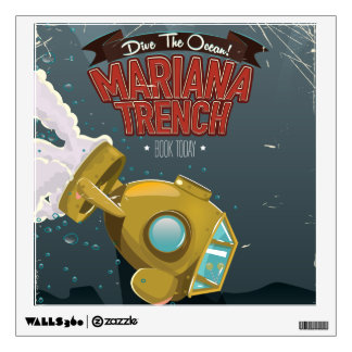Marianas Trench vintage cartoon travel poster. Wall Decal