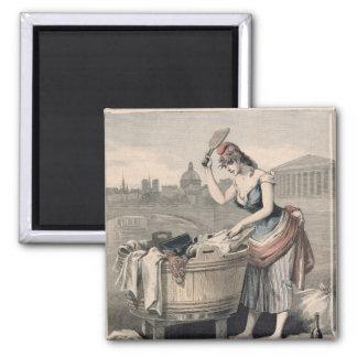 Marianne la reina de las lavanderas imán cuadrado