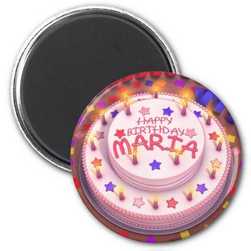 Maria's Birthday Cake Fridge Magnets