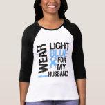 Marido azul claro de la cinta del cáncer de prósta camisetas