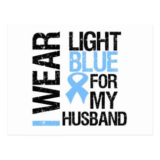 Marido azul claro de la cinta del cáncer de prósta tarjeta postal