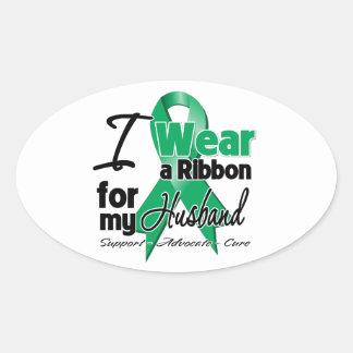 Marido - cáncer de hígado Ribbon.png Pegatina Ovalada
