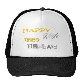 Marido cansado de la esposa feliz gorros bordados