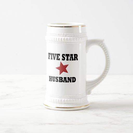 Marido de cinco estrellas jarra de cerveza