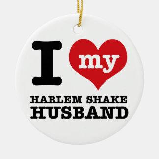 Marido de la danza de la sacudida de Harlem Adorno Navideño Redondo De Cerámica