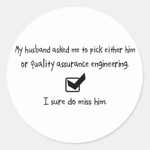 Marido de la selección o ingeniería de la garantía pegatina redonda