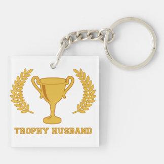 Marido de oro feliz del trofeo llavero cuadrado acrílico a doble cara