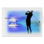 Marido del golf en el navidad tarjeta de felicitación