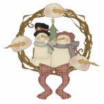 Marido del muñeco de nieve y ornamento de la espos escultura fotografica