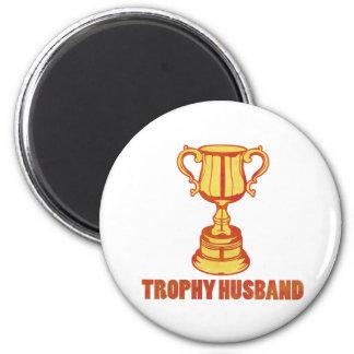 Marido del trofeo, divertido+para hombre+regalos imán redondo 5 cm