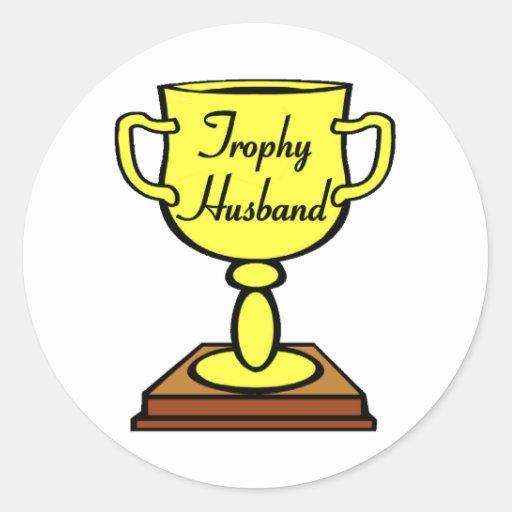 Marido del trofeo etiquetas redondas
