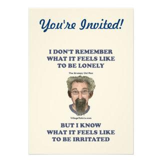 Marido irritado del viejo hombre invitaciones personalizada