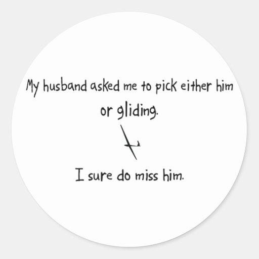 Marido o deslizamiento de la selección pegatina redonda
