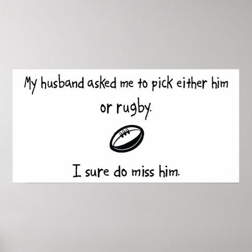 Marido o rugbi de la selección póster