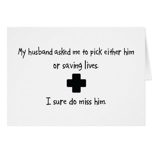 Marido o salvares vidas de la selección tarjeta de felicitación