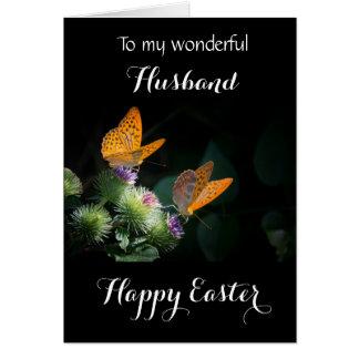 Marido/Pascua feliz - mariposas del Fritillary Tarjeta De Felicitación