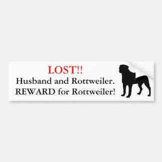 Marido perdido y Rottweiler. ¡Recompensa! Pegatina Para Auto