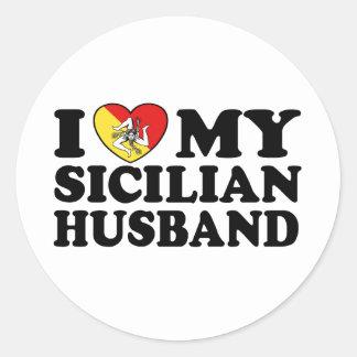 Marido siciliano pegatina redonda