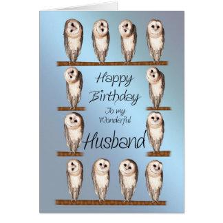 Marido, tarjeta de cumpleaños curiosa de los búhos