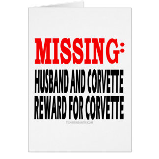 Marido y Corvette que falta Recompensa por Corvet Tarjetón