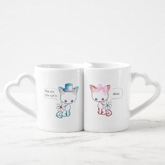 Marido y esposa lindos del maullido de los gatos set de tazas de café