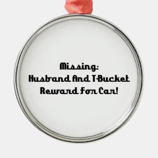 Marido y recompensa que falta de Tbucket por coche Adorno Navideño Redondo De Metal
