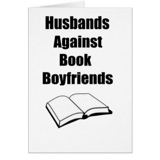Maridos contra novios del libro tarjeta de felicitación