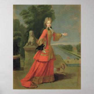 Marie-Adelaide de Saboya en vestido de la caza Póster