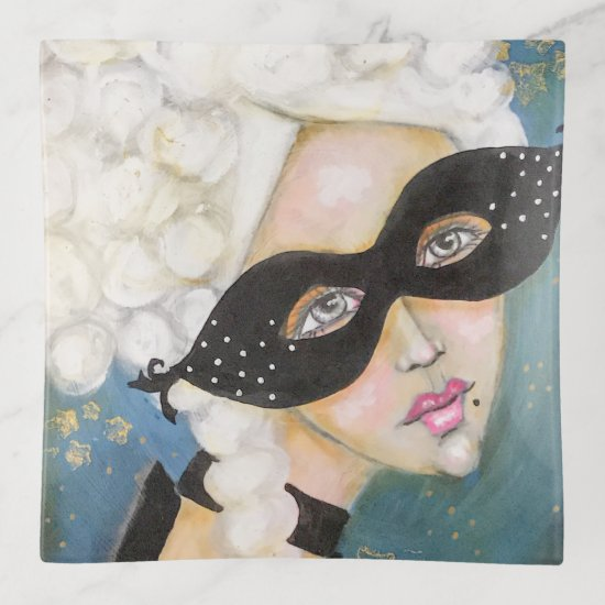Marie Antionette Mask NIght Sky Whimsical Queen Trinket Trays