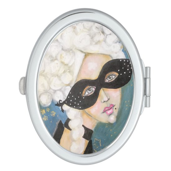 Marie Antionette Queen French Mask Night Sky Fun Compact Mirror