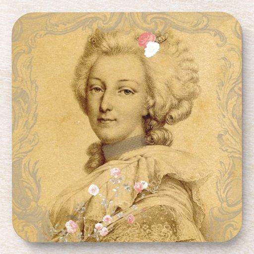 Marie Antoinette Altered Art Illustration Beverage Coaster