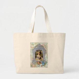 Marie Antoinette and Bluebird Art Print Tote Bags