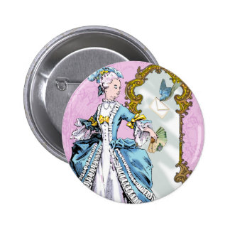 Marie Antoinette and Bluebird Pinback Button