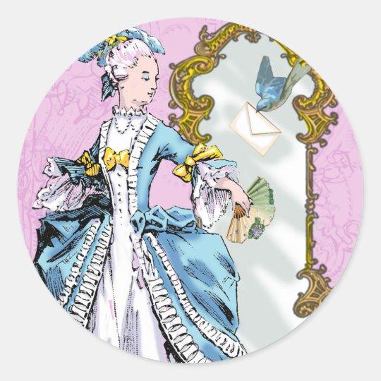 Marie Antoinette and Bluebird Classic Round Sticker