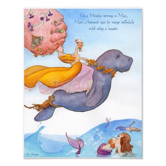 Marie Antoinette and her Manatee 11x14 Print