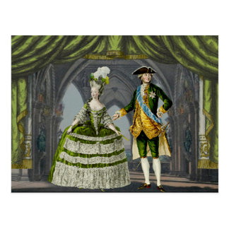 Marie-Antoinette and Louis XVI - Green Postcard