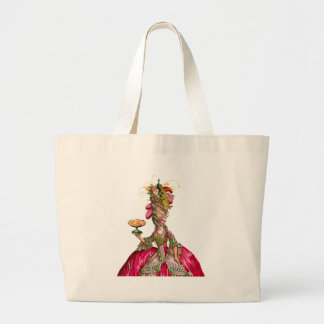 Marie Antoinette and Peacock Large Tote Bag