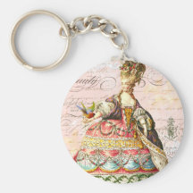 Marie Antoinette and Pink Paris Basic Round Button Keychain