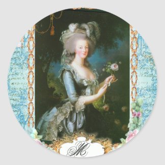 Marie Antoinette and Pink Roses Classic Round Sticker
