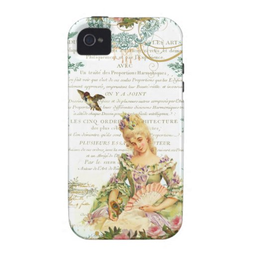Marie Antoinette and Sparrow French Script Case For The iPhone 4