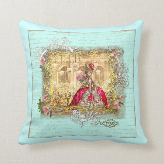 Marie Antoinette at Versailles in Aqua Throw Pillow