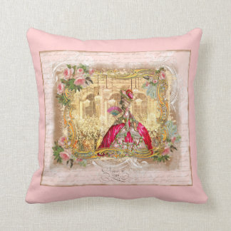 Marie Antoinette at Versailles in Pink Throw Pillows