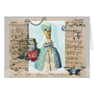 Marie Antoinette Blue blank card