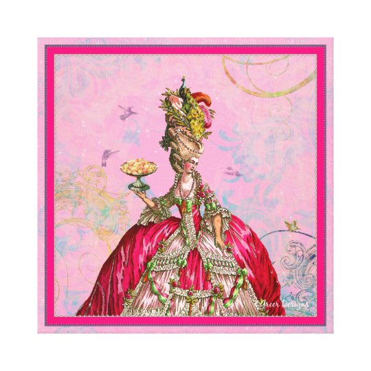 Marie Antoinette, Cakes and Peacock Canvas Print