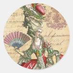 Marie Antoinette Carte Postale Parisian Seals/ Round Sticker