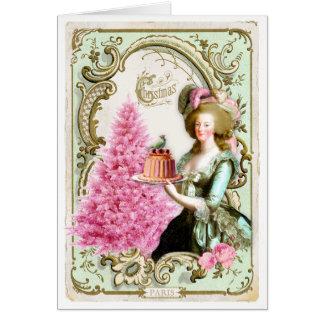 Marie Antoinette Christmas Card Cake Pink Tree