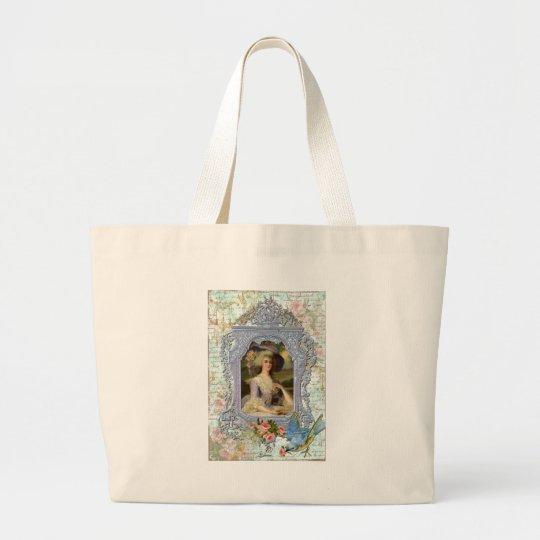 Marie Antoinette Framed Portrait n Roses Large Tote Bag