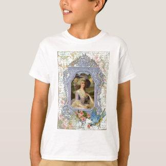 Marie Antoinette Framed Portrait n Roses T-Shirt