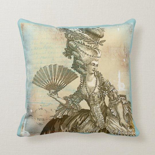 Marie Antoinette French Blue & Sepia Pillow